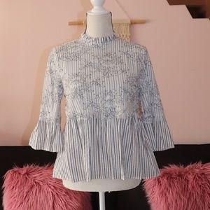 Zara Striped Lace Bell Sleeve Peplum High collar